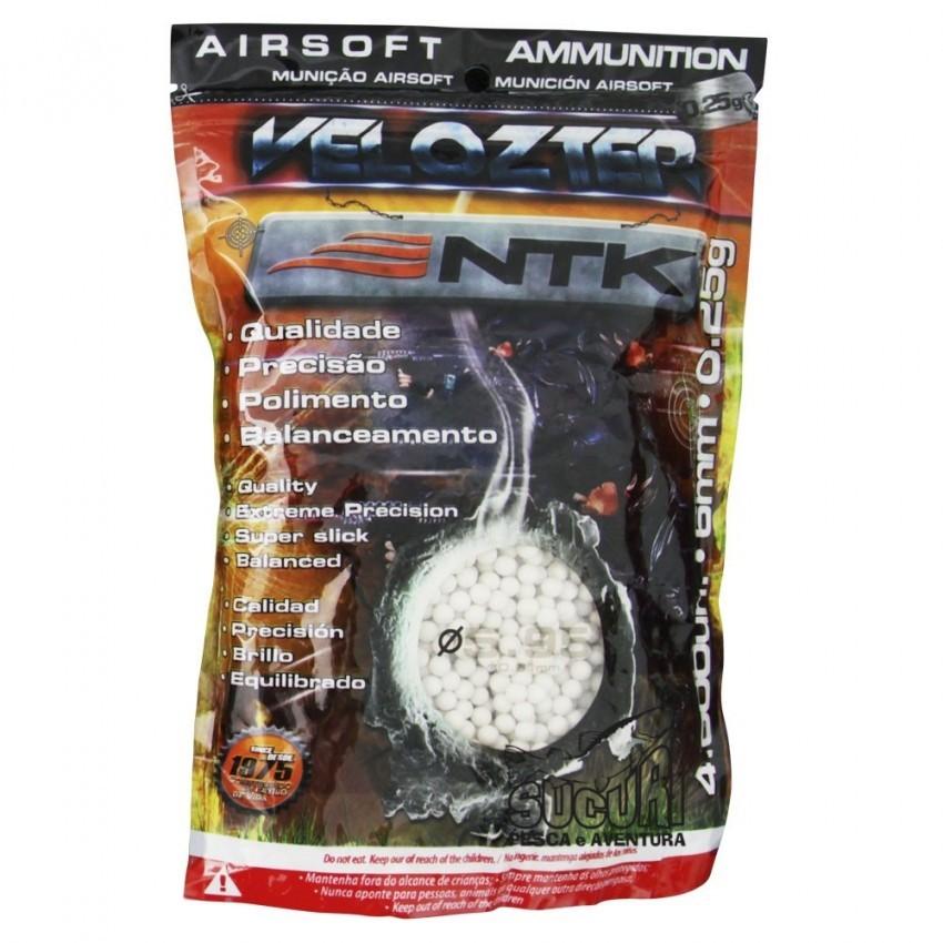 Esfera Airsoft Bbs Velozter Ntk 0.25g 6mm 4000un