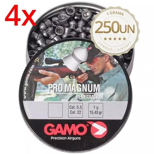 Kit 4x Latas Chumbinho Gamo Pro Magnum 5.5mm - 1000 Unidades