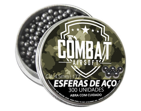 Kit 5 Latas De Esferas De Aço 4,5mm e 5 Cilindros De Co2 12g