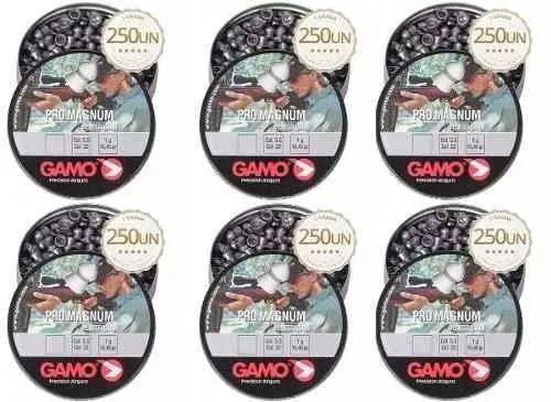 Kit 6 Latas De Chumbinho Gamo Pro Magnum 5.5mm 1500 Unidades