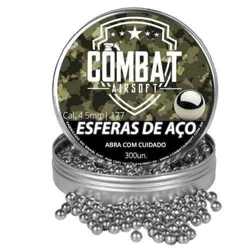 Kit 8 Esfera De Aço Combat Airsoft 4,5mm 300 Unidades