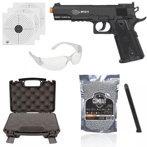 Kit Airsoft Pistola Co2 Cybergun Colt 1911 Slide Fixo 6mm + Maleta + 2000 Bbs 0,20 + Oculos
