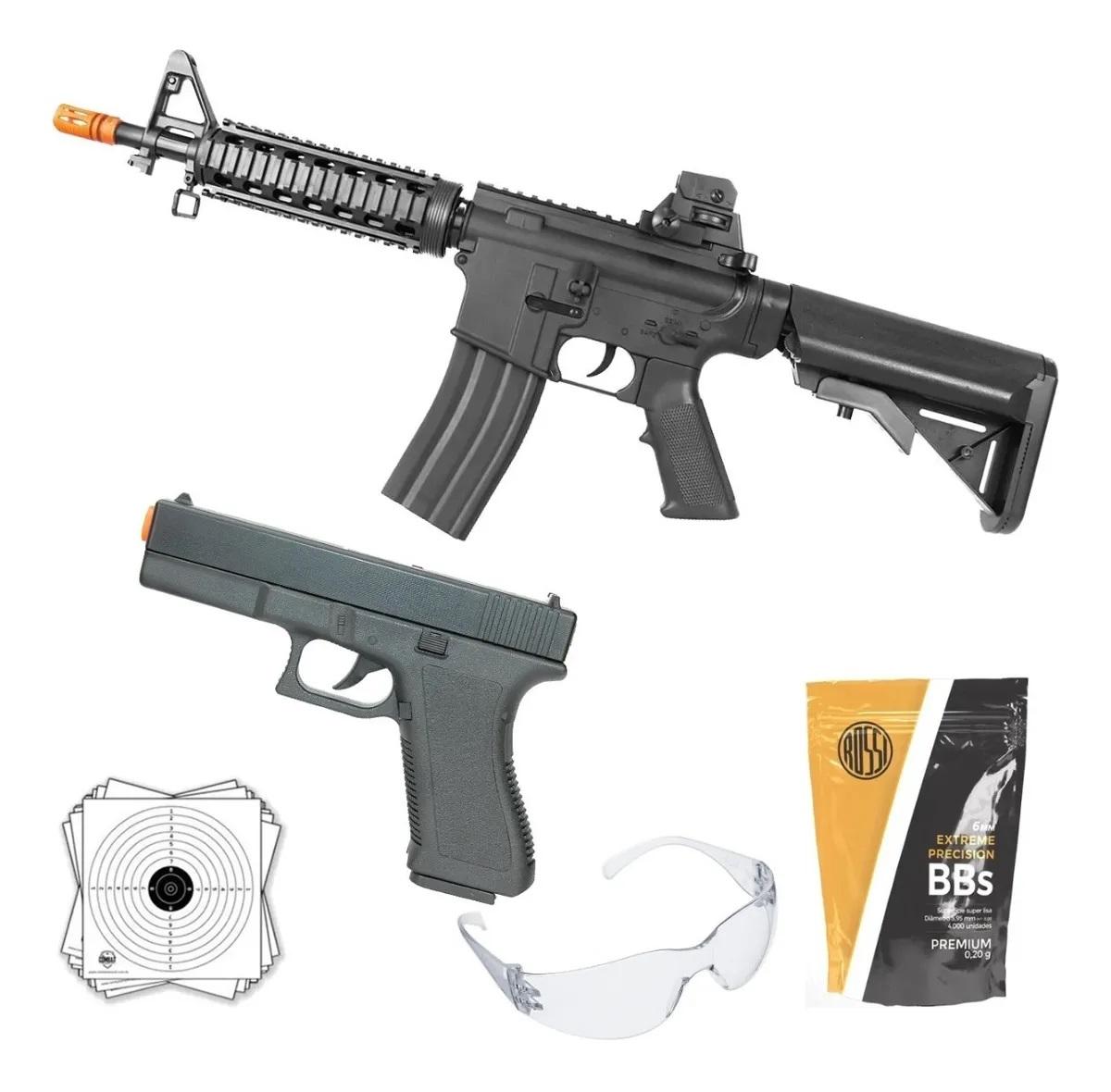 Kit Airsoft Vg Spring Rifle M4 8907 + Pistola Gk V307 + Bbs