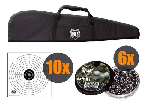 Kit Capa Carabina Combat Premium + 6 Chumbinhos 5.5mm + 10 Alvos
