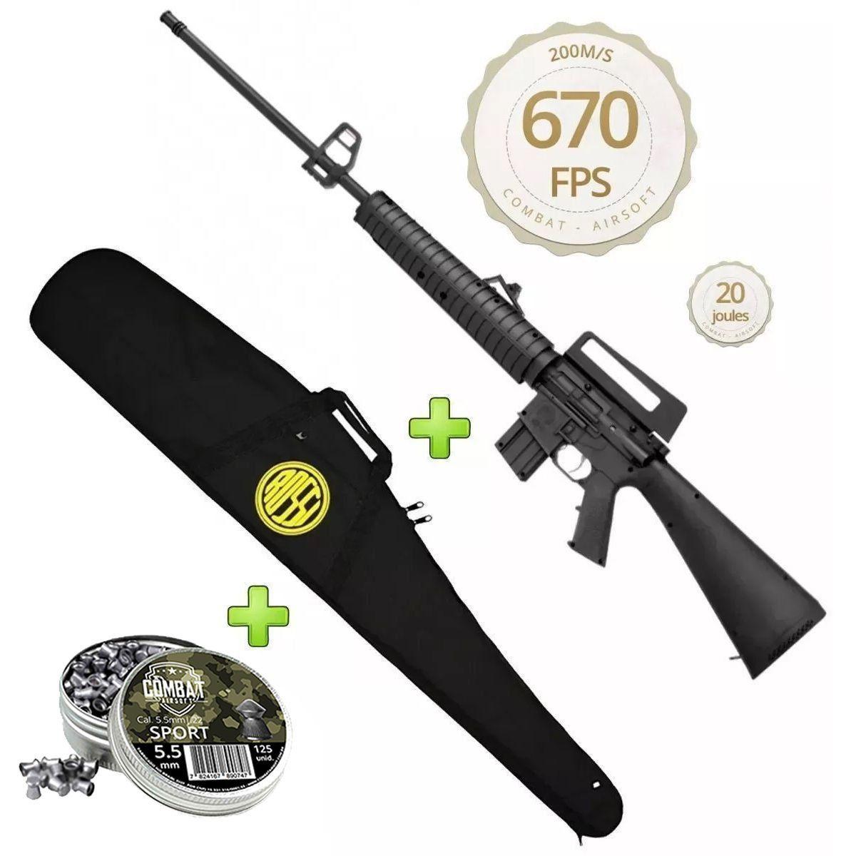 Kit Carabina De Pressão Rossi Rifle M-16 R 5,5mm + Capa + Chumbo