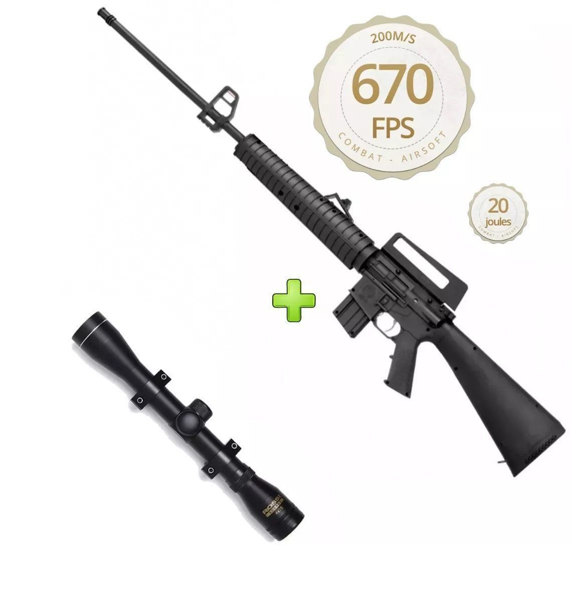 Kit Carabina Pressão Rossi Rifle M-16 R S - 5,5mm + Luneta 4x20