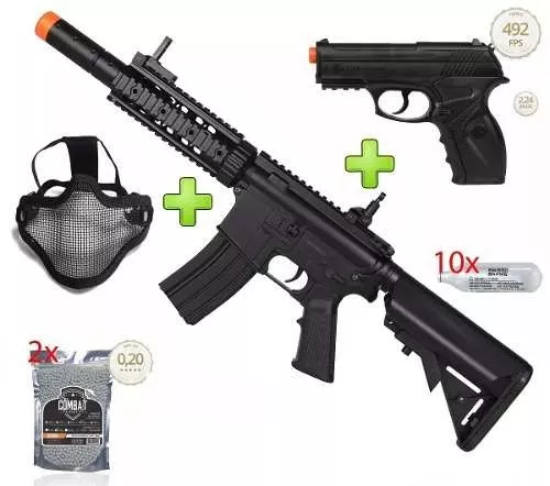 Kit Commando Rifle Bivolt Airsoft Cyma M4a1 Cm513 + Pistola CO2 Airsoft C11 + 8000 BBs + Mascara