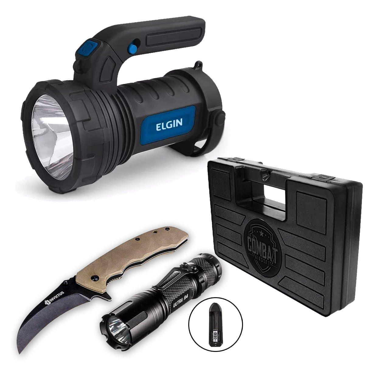 Kit Explorer Canivete e Lanterna Invictus + Case + Lampião Led