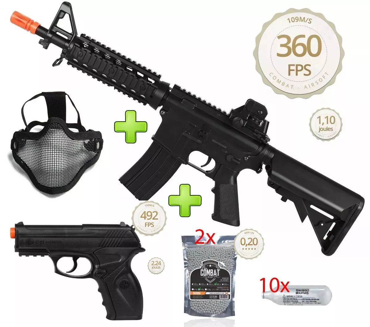 Kit Fighter Rifle Airsoft Elétrico M4a1 Cm506 + Rossi C11