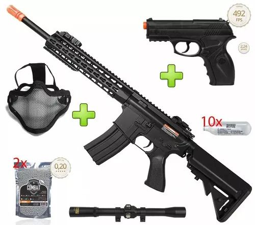 Kit Fighter Rifle Airsoft Elétrico M4a1 Cm515 + Pistola Airsoft CO2 C11 + 8000 BBs + Mascara + Luneta + 10 Cilindros