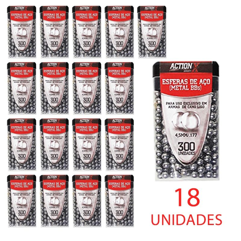 Kit para Airgun 50 Cilindros CO2 + 18 Esferas de aço