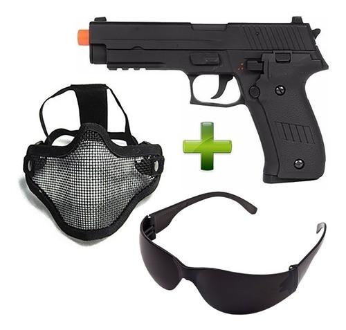 Kit Pistola Airsoft Cm122 + Máscara Ntk Telada
