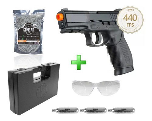 Kit Pistola Airsoft Co2 Kwc 24/7 Slide Metal 6mm + Maleta + Oculos + 2000 Bbs + 3 Cilindros Co2