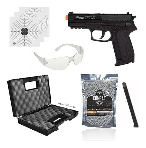 Kit Pistola Airsoft Co2 Sigsauer Sp2022 6mm Slide Metal Fixo + Maleta + Oculos + 2000 BBs