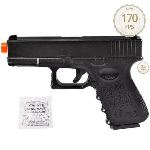 Kit Pistola Airsoft Glock G15 Full Metal 6mm + 2000 Bbs - Spring