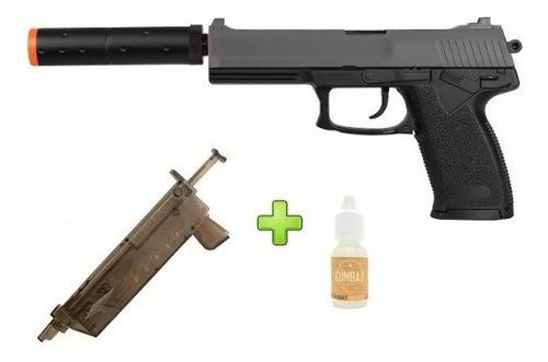 Kit Pistola Airsoft Spring Hk Usp M23 + Speed Loader + Silicone