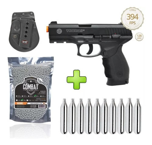Kit Pistola Airsoft 24/7 Co2 Cybergun Metal + Coldre + 4000 BBs + 10 Cilindros Co2