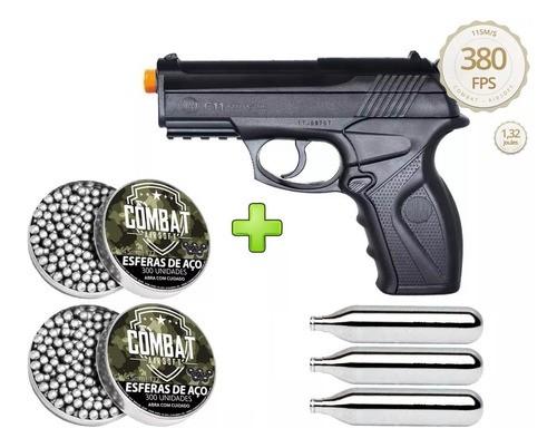 Pistola de Pressão Wingun C11 Rossi 4,5mm CO2 428 FPS + 3 Co2 + 600 Esferas de Aço