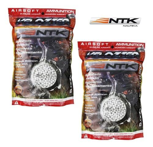 Munição Airsoft Esferas BBs 6mm 0,20g Velozter NTK - 2 Pacotes 10000un Total