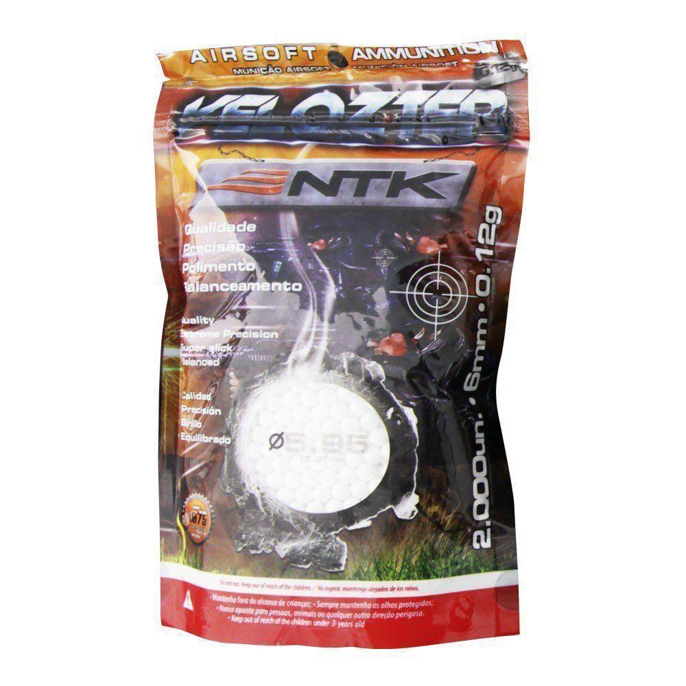 Munição Esferas Bbs Airsoft Ntk Velozter 0,12g 6mm 10.000un