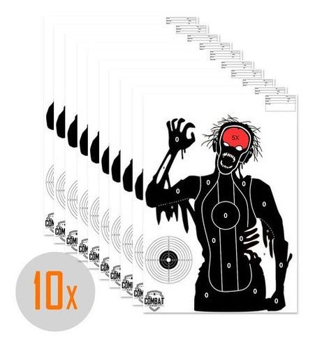 Pack 10 Alvos Silhueta Tiro Papel A3 Tema Zombie 1