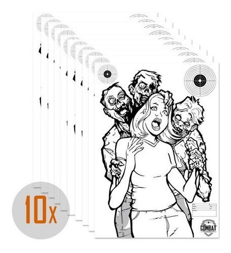 Pack 10 Alvos Silhueta Tiro Papel A3 Tema Zombie 3