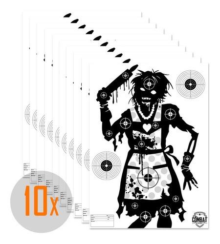 Pack 10 Alvos Silhueta Tiro Papel A3 Tema Zombie 4