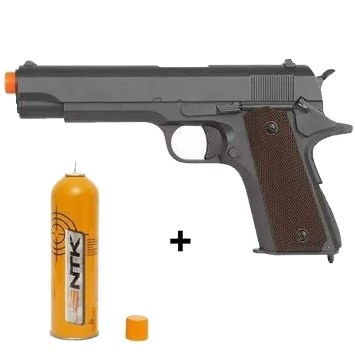 Pistola Airsoft 6mm Gbb Blowback R31-C M1911 A1 Cinza + Green Gás