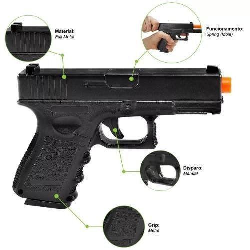 Pistola Airsoft Glock G15 Metal Mola + Case + 2000 BBs + Óleo de Silicone + Coldre