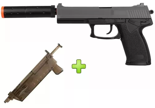 Pistola Airsoft Spring Hk Usp M23 + Speed Loader