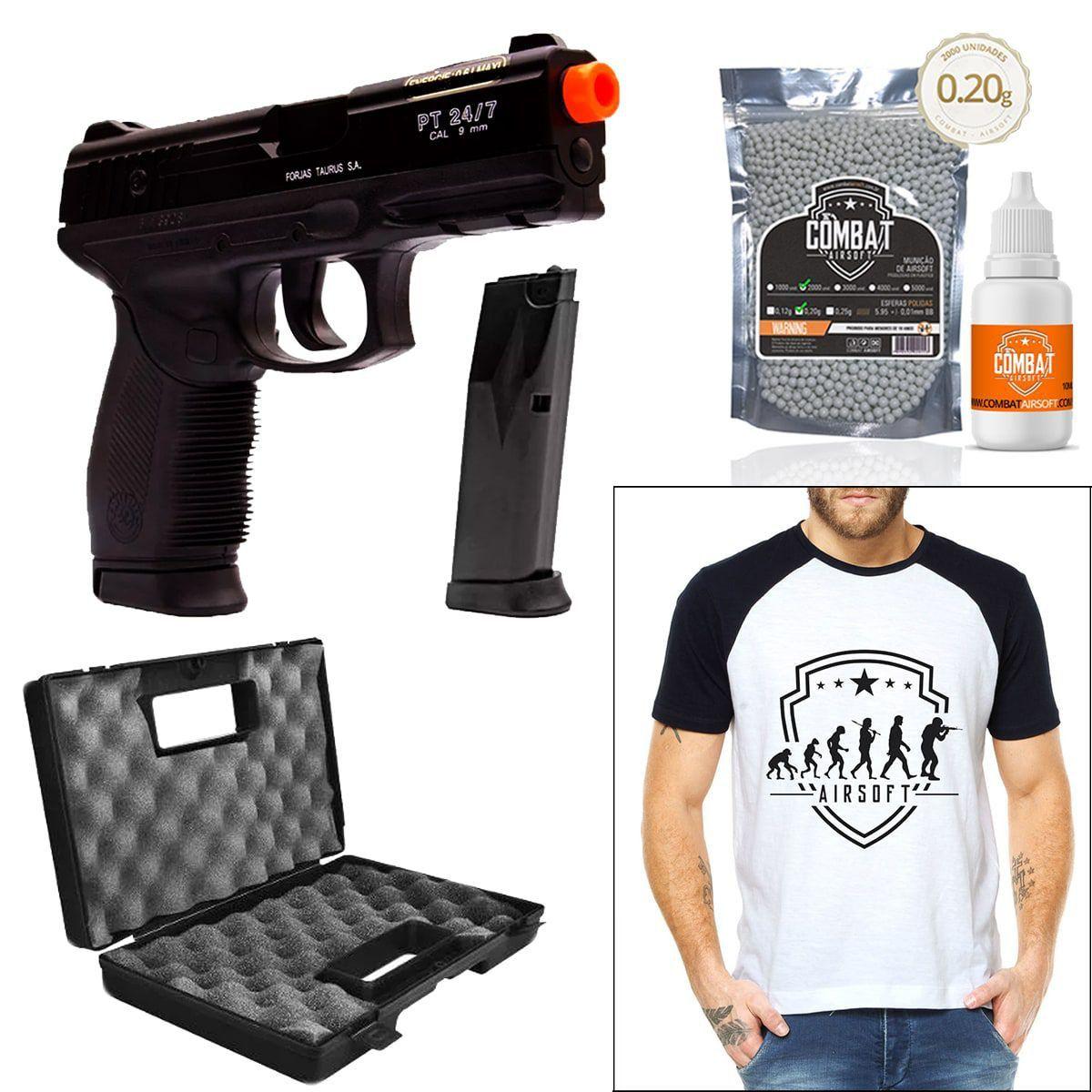 Pistola Airsoft Spring Cybergun PT24/7 Cybergun 6mm + Magazine Extra + Camiseta + Óleo + Case