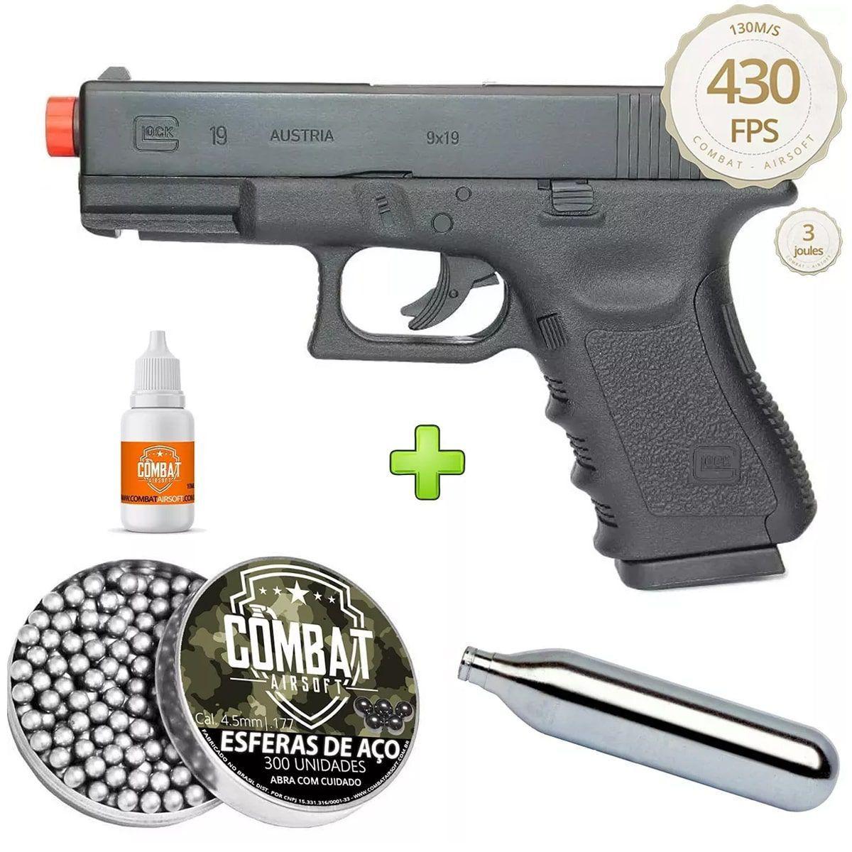 Pistola De Airgun Gas Co2 Glock G19 Slide Metal Oficial Licenciada