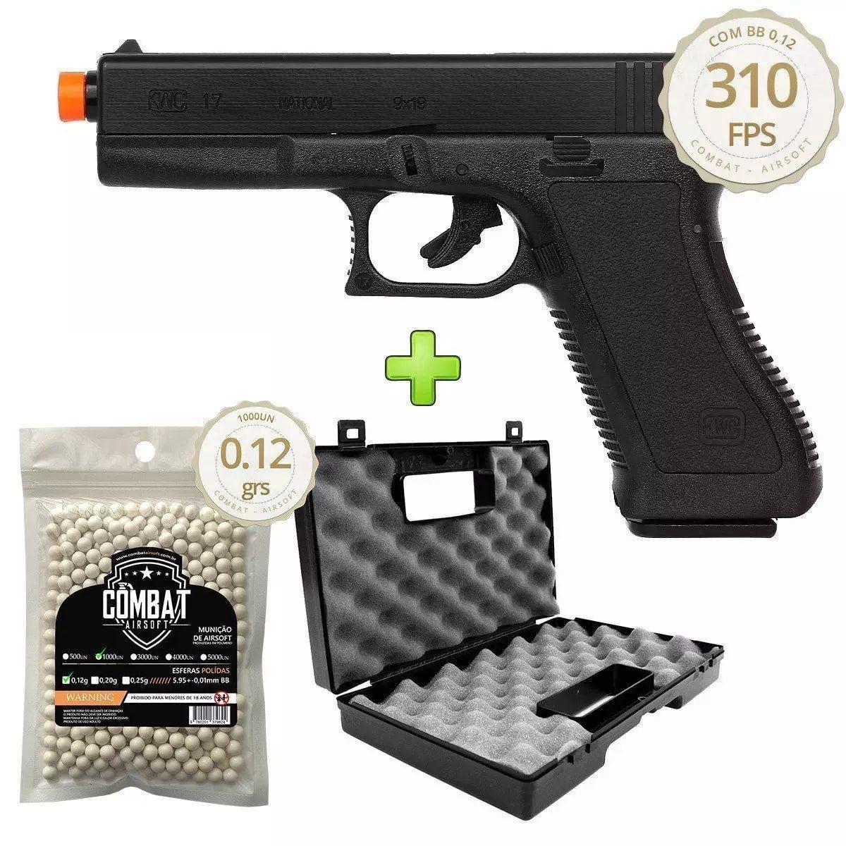 Pistola De Airsoft Spring Kwc Glock G17 + 1000 Bbs + Maleta