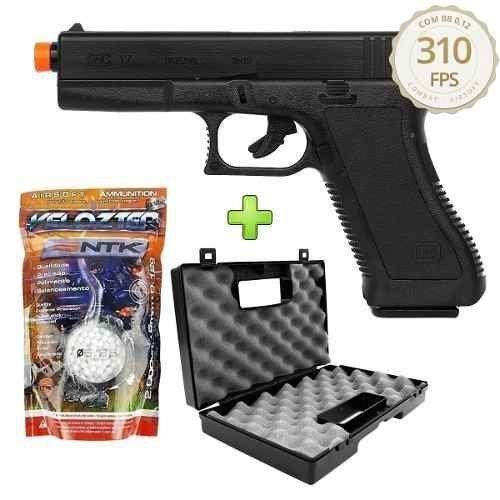 Pistola De Airsoft Spring Kwc Glock G17 + 2000 Bbs + Maleta