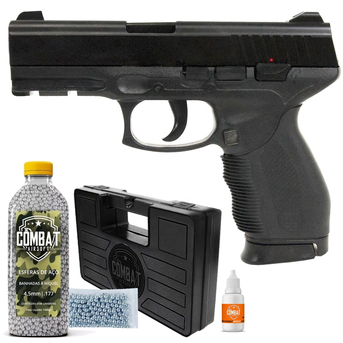 Pistola de Pressão Airgun KWC 24/7 Spring 4,5mm + Esfera + Case