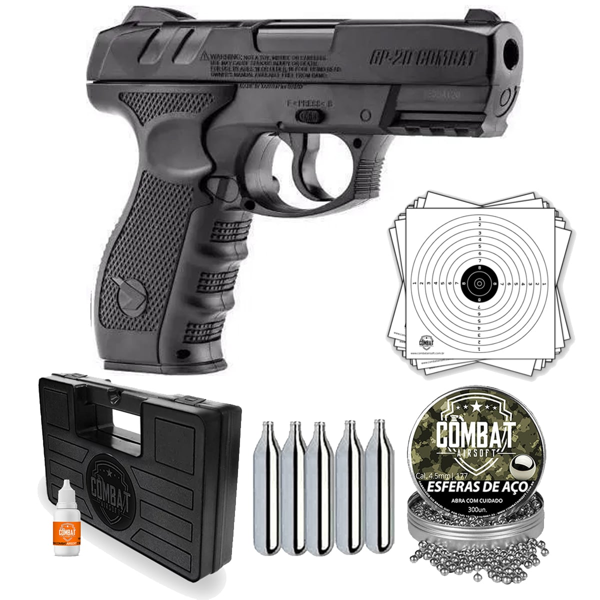 Pistola De Pressão CO2 Gamo GP-20 4.5mm + Kit