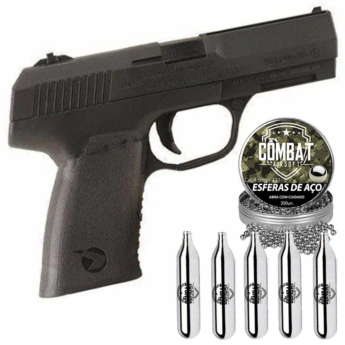 Pistola De Pressão CO2 Gamo PX-107 4,5mm + CO2 + Esferas de Aço