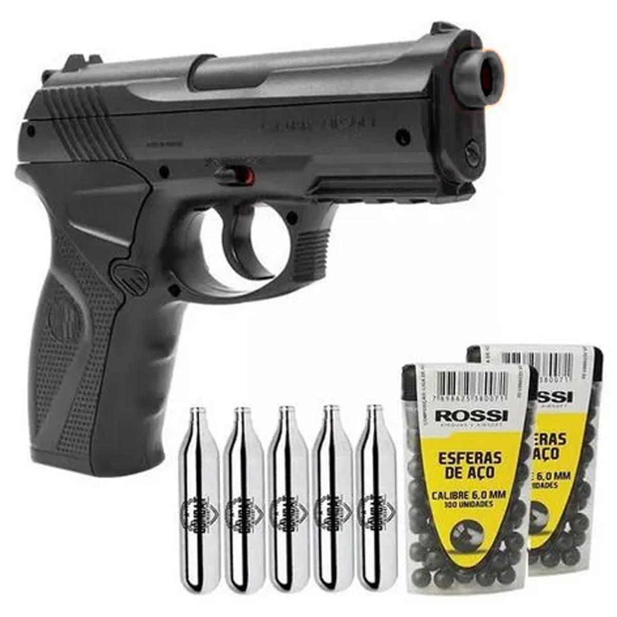 Pistola de Pressão Wingun C11 Rossi 6mm CO2 492 FPS + Esferas + Co2