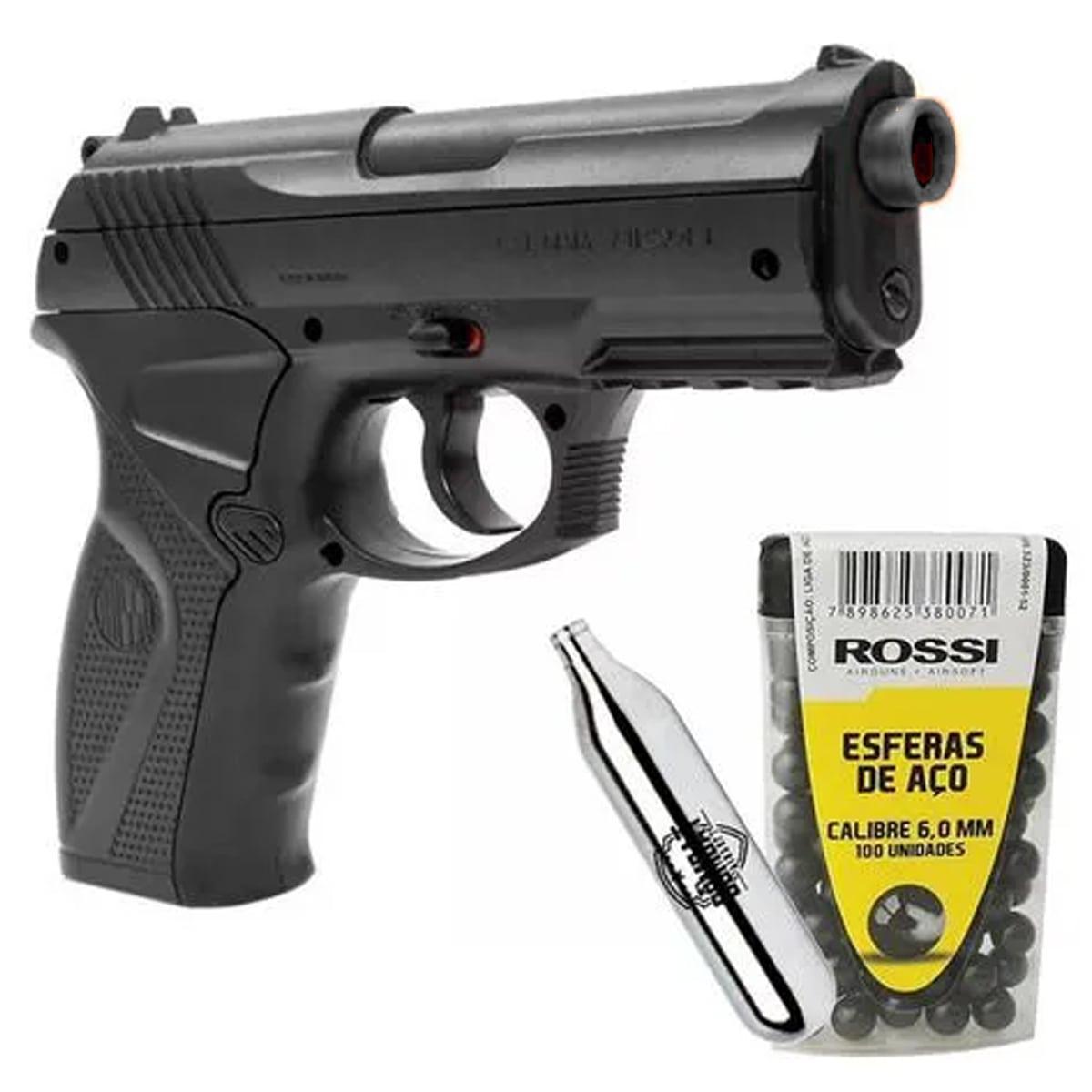 Pistola de Pressão Wingun C11 Rossi 6mm CO2 492 FPS + Esferas de Aço