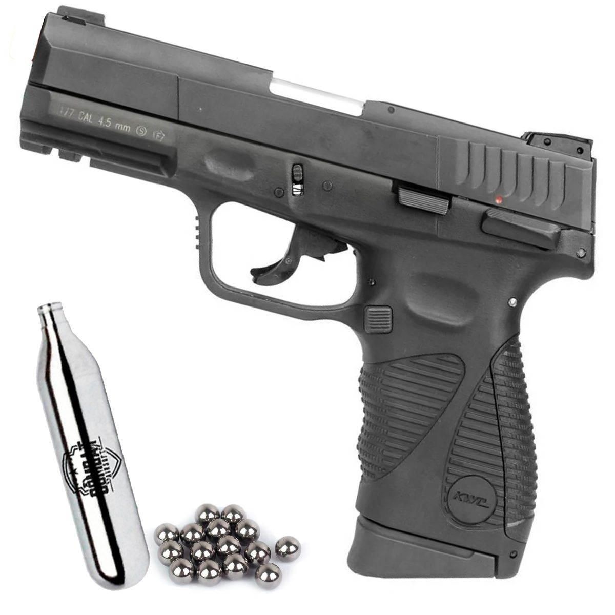 Pistola Kwc Airgun CO2 24/7 G2 Blowback Preta Metal 4,5mm