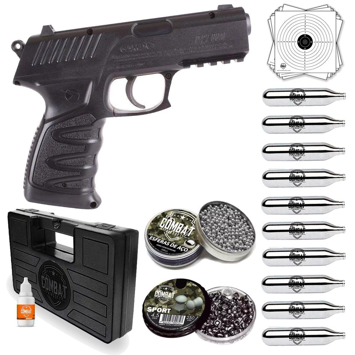 Pistola Pressão Co2 Gamo P-27 Dual + Case, Munição 4.5 E Co2