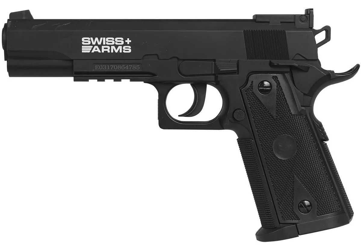 Pistola Pressão Co2 Swiss Arms P1911 Match Esferas Aço 4.5mm