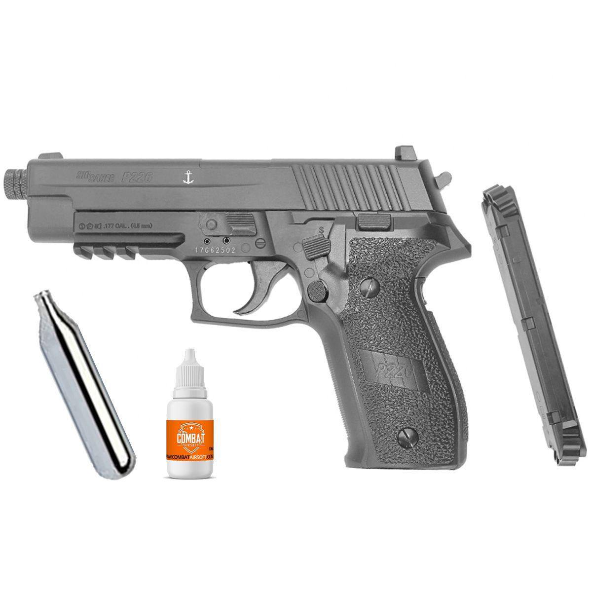 Pistola Pressão Sig Sauer P226 Co2 Full Metal Chumbinho 4,5mm Blowback
