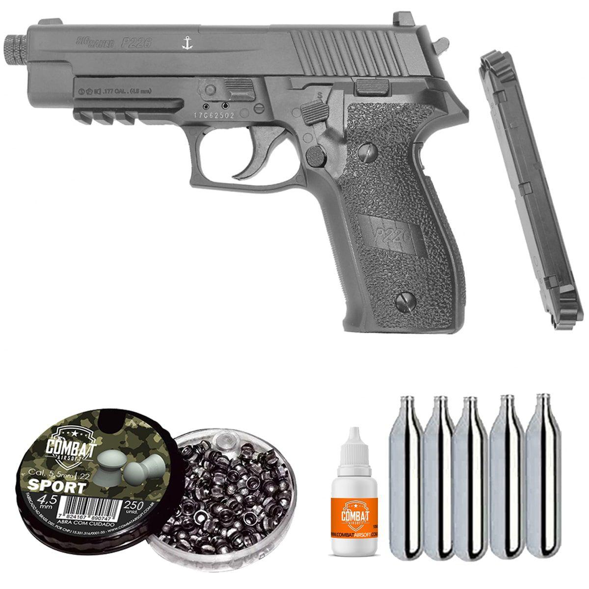 Pistola Pressão Sig Sauer P226 Co2 Full Metal Chumbinho 4,5mm Blowback + Munição + Cilindros de CO2