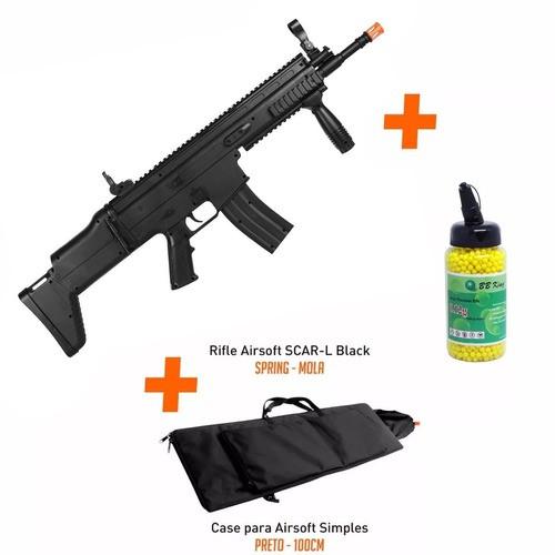 Rifle Airsoft Fn Scar-l Spring/mola Cal 6mm + 2000 Bbs + Capa