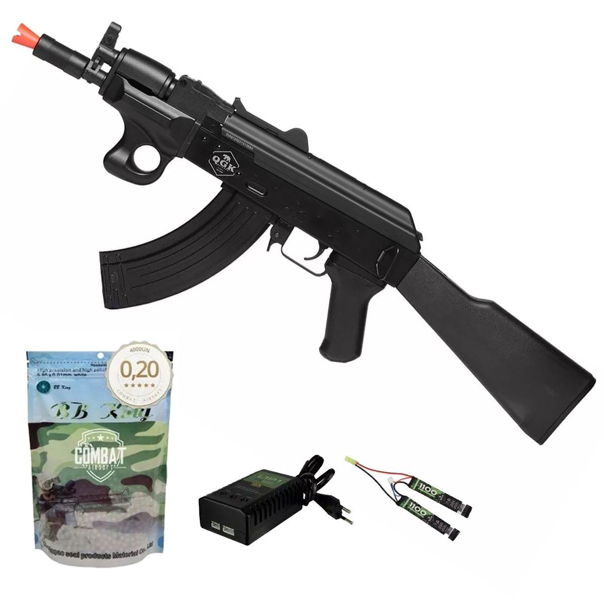 Rifle De Airsoft Elétrico Ak47 Alfa Qgk Aeg Bivolt + 4000 BBs 0,20g