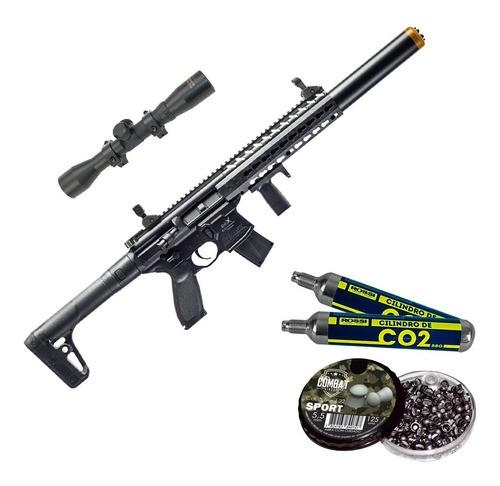 Rifle Pressão Co2 Sig Sauer Mcx 4,5 Fullmetal + Kit Luneta
