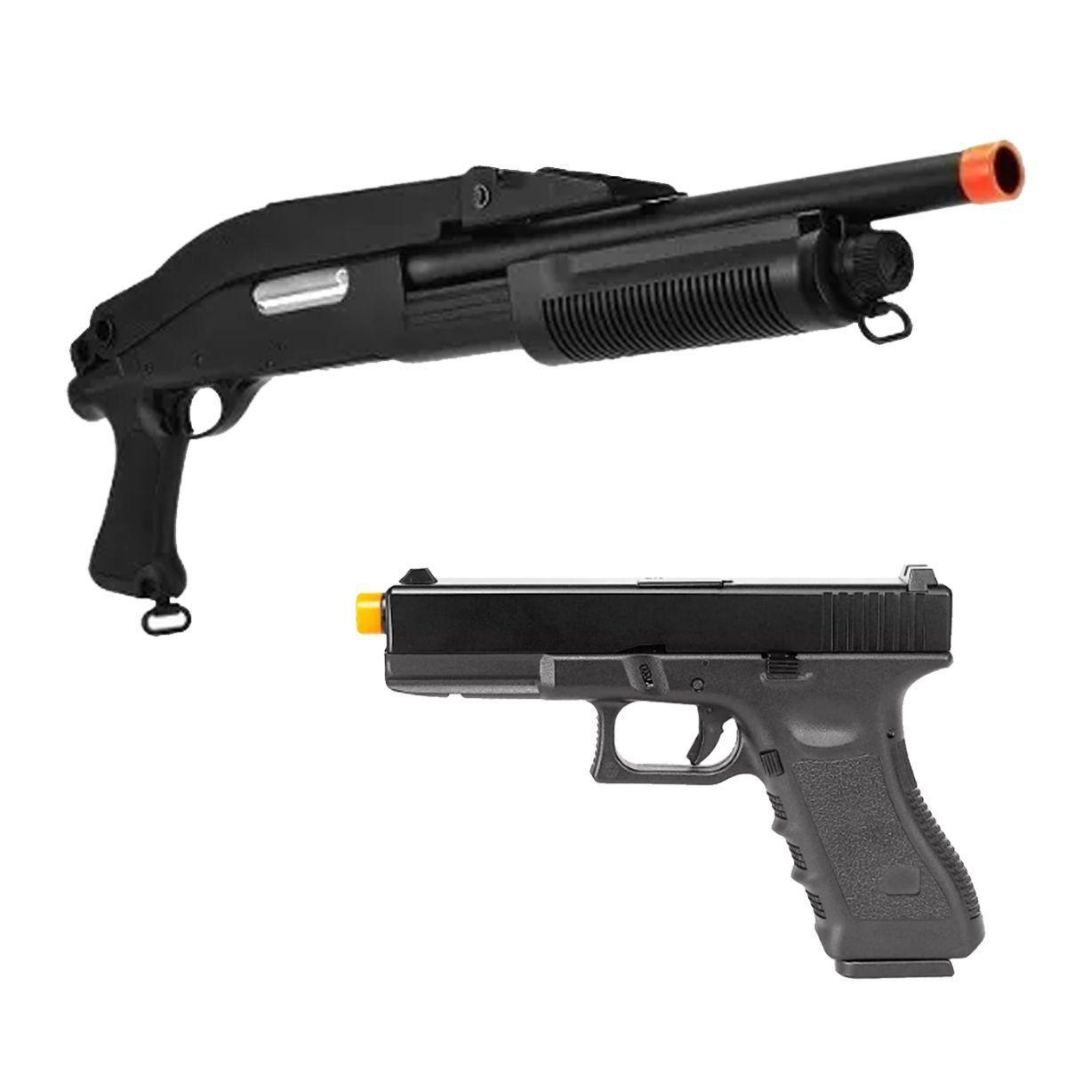 Shotgun De Airsoft Cyma Cm352 + Pist Glock R17 Gbb Army