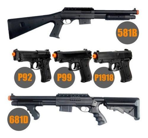 Super Combo Airsoft Rossi Vigor Shotguns + Pistolas Spring