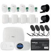 Kit de Alarme Intelbras Amt 2018E + 04 Sensores Sem Fio Intelbras IVP 2000SF + 04 Sensores Sem Fio Intelbras XAS 4010 + Acessórios